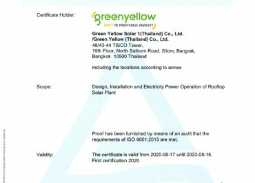 GreenYellow Thailand is now officially certified by ISO 9001!